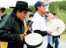 Drummers from the Lubicon Cree Nation in northwestern Alberta sing on the walk.