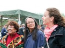 Beaver Lake Cree elder Doreen Lameman, indigenous activist and on-screen actor Tantoo Cardinal and evnironmentalist and author Tzeporah Berman visit Friday evening at the Indian Beach camp.