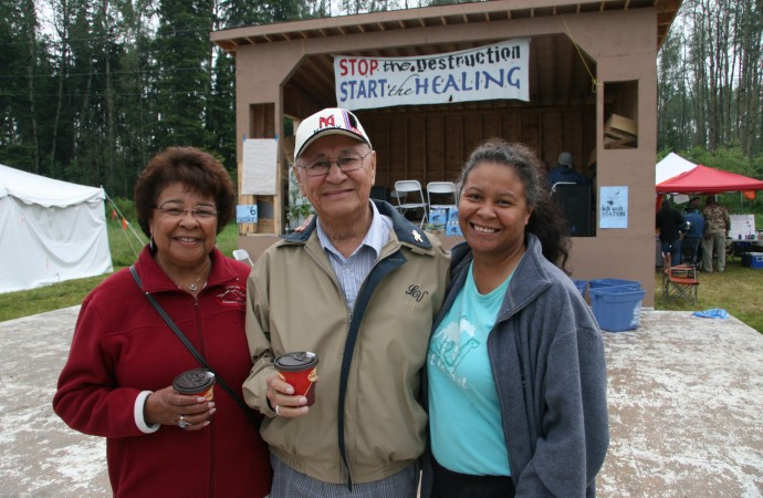 Doreen, Al and Tina Lameman of the Beaver Lake Cree Nation show their support on Friday afternoon at the Healing Walk gathering. As former chief, Al Lameman filed suit against the Crown for over 17,000 alleged treaty rights infractions. The case has yet to go to trial.