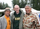 Dene National Chief Bill Erasmus (left) and former chief Francois Paulette (right) meet with 350.org founder Bill McKibben on Friday evening.