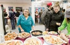 Maggie Sikyea is the queen of bannock in Fort Smith. She offered the students a number of different kinds to chose from.