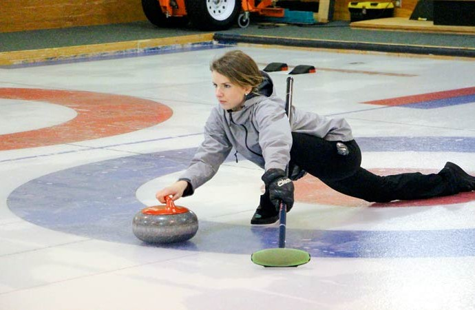 Fort Smith's Brittany Brasser plays to win on Friday night during the second game of the Territorial Mixed Doubles Curling Championship, held in Fort Smith last week. Brasser and her partner, Nick Kaeser, won the bonspiel and will be headed to the second ever national tournament in Ottawa in March.