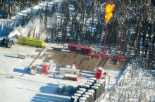 ConocoPhillips flares at one of its fracking sites in the Sahtu last winter near Norman Wells.