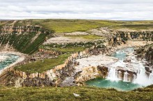 La Roncière Falls are seen from a stunning vista above the Hornaday River canyon in Tuktut Nogait National Park.