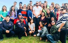 Excited residents of Fort Chipewyan gather with Hollywood superstar Leonardo DiCaprio, who visited the community last Friday with director Darren Aronofsky to research the oilsands for an upcoming documentary. The self-described environmentalist frequently speaks on climate change and threats to our oceans.