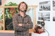 Whitehorse sculptor Philippe Leblond shows his whimsical fountain built from cast off plumbing and kitchen tools. The artist in residence is designing a zoetrope for Yellowknife.