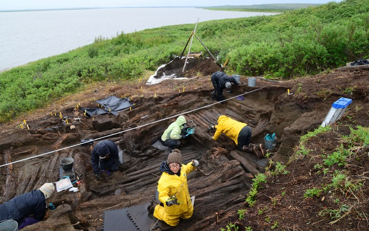 Researchers excavate the old A team of archeologists from the University of Toronto excavate an Inuvialuit cruciform pit house, found complete along the Mackenzie Delta across from Tuktoyaktuk. The house, which could be up to 500 years-old, is a rare find for researchers studying the North.cruciform house at the Kuukpak site.