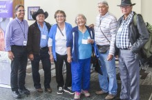 Elders Pat Martel, Florence Barnaby, Mary Teya, Francois Paulette and Gabe Hardisty meet with Dr. Ted Mala, left, director of traditional healing at the Alaska Native Medical Center.
