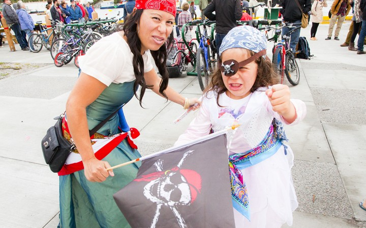 ARRR Maties!  Angelica Gowans and her mom, Catalyna Correa, strike a pirate's pose down on the Government Dock at this year's Old Town Regatta, where dozens set sail against a blustery headwind for the coveted trophy at the fifth annual family-oriented event.