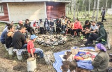 Elder Margaret Vandall shares traditional teachings with youth at the Telemia camp.
