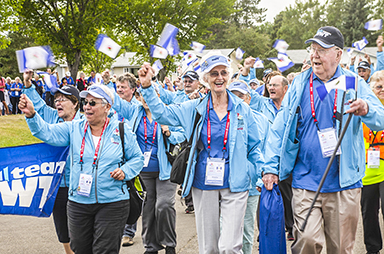 Team NWT players march in the Canada 55+ Games opening ceremonies in Strathcona County, Alta. on Aug. 27.