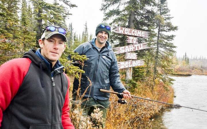 Former NHL hockey players Brendan Morrison, left, and Rob Niedermayer do some fishing on Great Bear Lake near Deline. The two pros were in the North to film an episode of SportFishing Adventures, a show on Wild TV hosted by Morrison.