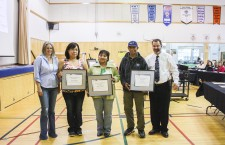 Teachers from the South Slave Divisional Education Council show off their Excellence in Education awards at the school district's in-service meeting held in Hay River last week. Pictured from left are Deninu School principal Kate Powell with winners Kirsten Boucher, Emily MacLean and Prem Lal and the board's superintendent, Curtis Brown.