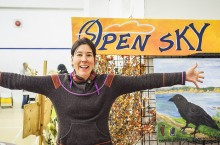 Jackie Zinger, a member of the Open Sky executive board and volunteer coordinator for the festival, welcomes visitors to the harvest festival with open arms.