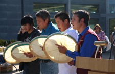 Dene drummers perform a prayer kicking off the orientation day barbecue at Thebacha Campus in Fort Smith.