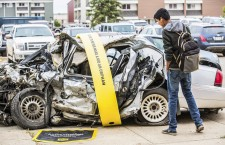Mangled vehicles placed around the city of Fort McMurray bring attention to the hazards of dangerous driving as part of the Coalition for a Safer 63 and 881's ongoing campaign.