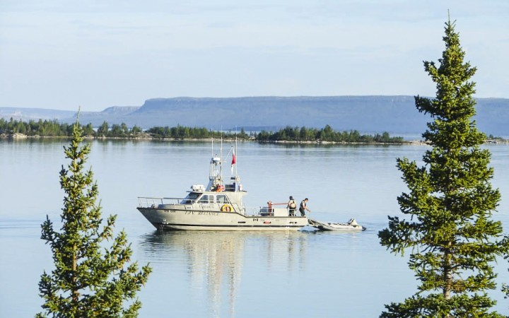 Department of Oceans and Fisheries officers hop aboard the patrol vessel Reliance and race across 175 km to rescue two stranded boaters on the East Arm of Great Slave Lake. They covered a total of 450 km by water and air, locating the boaters within 24 hours.