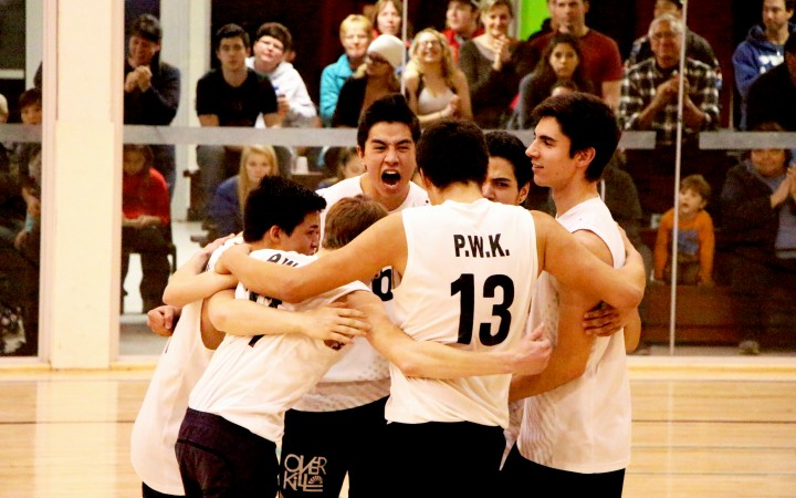Paul William Kaeser High School's U19 boys celebrate after cinching the gold medal for their age group at last weekend's Lawrie Hobart Memorial Volleyball Tournament, held in Fort Smith. Despite some infrastructure issues and long playing schedules, the weekend was a smashing good time for the almost 500 student athletes who participated.