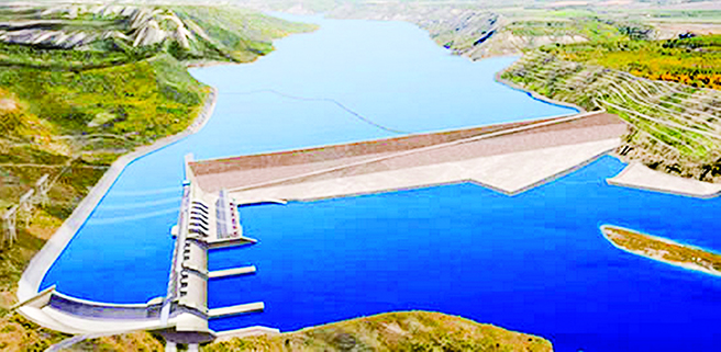 An illustration shows the massive reservoir that will be created with the construction of the Site C dam on the Peace River.