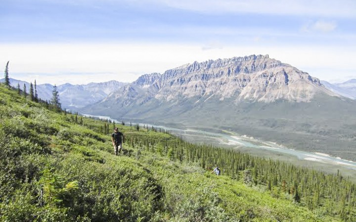 August + Cover Hiking for the View of Delthore Mountain (Mackenzie Mountains) by Dwayne Wohlgemuth