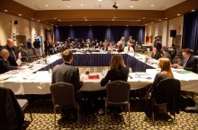 Northern Aboriginal leaders attend a hearing with federal officials on amendments to the Mackenzie Valley Resource Management Act in Yellowknife last January.