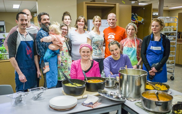 Participants in the latest Inuvik Community Kitchen meal included, from left to right, Joel Granger, Steve Wagar, Patrick Gale, Gemma Gale, Lexie Winchester, Deirdre Dimitroff, Megan McCaffery, Sheena Adams, Robin Haas, Andrew Haas, Alexandra Pulwicki, Anna Johansson and Sarah Huet.