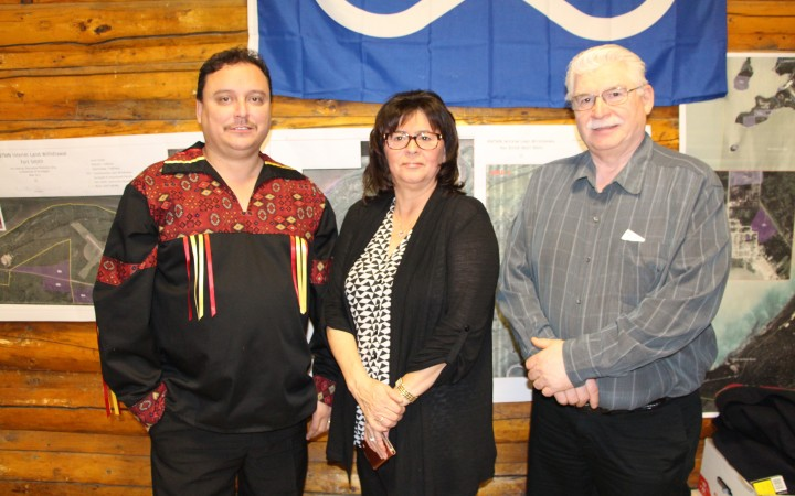 Voting delegates of the NWT Métis Nation opted to re-elect their previous executive at last week's AGM in Fort Smith. From left, Garry Bailey was re-elected president, Betty Villebrun vice president and Danny Beck secretary-treasurer. All three promised to work hard for the membership as the nation approaches its final negotiations with Canada over lands and resources in the coming months.