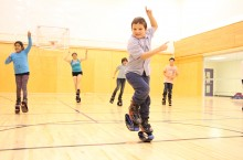 Donald Fergusson, 6, shows off his dance moves at a Jump A Bunch event at Fort Smith's recreation centre. The fun event was held by Amanda Grobbecker, who also toured through Hay River and Fort Providence with her super bouncy Kangoo shoes.