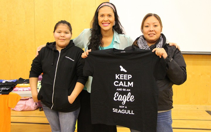 Evangeline Husky, left, and Heather Bishop flank motivational speaker Savvy Simon at her presentation in Fort Smith Nov. 19. Using social media and word of mouth, Simon is empowering indigenous people from every nation to embrace their culture and preserve their traditional languages.