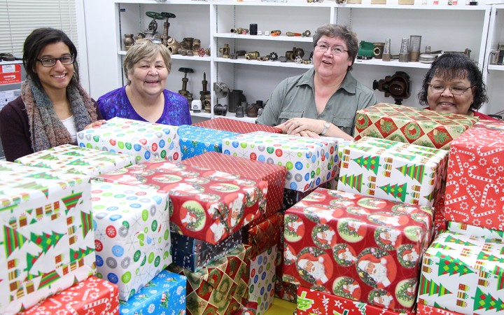 Gaëlle St. Louis, Marg Shott, Jeannie Marie Jewell and Shannon Coleman volunteer with the Nunavut Shoebox Operation, through which they are sending non-perishable items to food banks in the far North.
