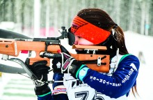 Calista Burke takes aim at the Fort Smith Polar Cup biathlon race, held at the Thebacha Loppet on Jan. 24. Youth from Hay River and Fort Smith competed in the friendly event for the first time in three years after bad weather forced multiple cancellations.