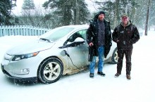John Carr, left, and Tom Gross of Arctic Energy Alliance have been hitting the roads of the South Slave to test the efficiency and practicality of the Chevy Volt in the NWT, part of an 18-month pilot project.