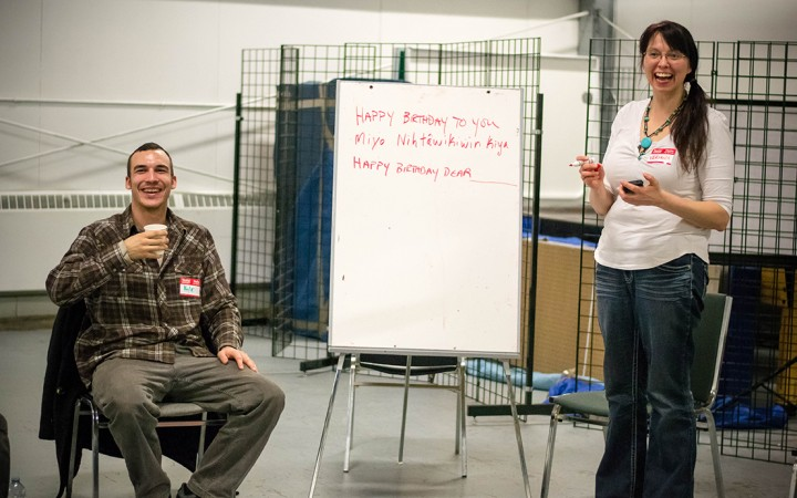 NWT Cree Language Program manager Kyle Napier and singer-songwriter Veronica Johnny lead a Cree language songwriting workshop in Hay River over the weekend.