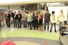 Students of the PWK drama club perform a scene from their upcoming original play.