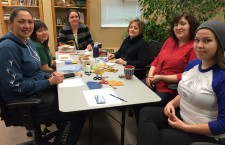 Twyla Amos, Stacy Hood, Brenda Chalifoux, Margo Harney, Colette Labine and Olivia Villebrun try their hand at traditional beading during a  full day session held at Thebacha campus Feb. 18.