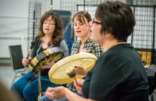 The Granddaughters of the Drum, a women's drumming group from Hay River, perform a song during the NWT Cree Language Program's songwriting workshop on the weekend. The workshop, led by musician Veronica Johnny, combined language learning with music and was held Friday and Saturday in Hay River.