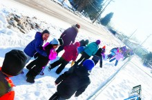 Students at JBT school attend a Mini Trek on Mar. 25. The initiative is one of several Bennett and her team run each year to help Cayden and Kai's peers understand the challenges the boys face daily.