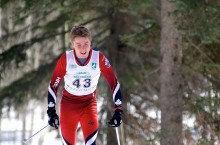 Canada Winter Games athlete Andrew Lirette of Hay River climbs a hill in the Junior Boys' 5-kilometre race.