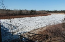 The crackling echo of ice breaking up on the Hay River is a mixed blessing for local residents. Though it is a welcome sign of spring, those who make their homes on its shores are on alert for signs of flooding. So far, there have been no indications of flooding this year.