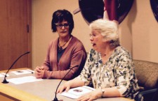 Legal Pathways author Lani Cooke, left, with YWCA Yellowknife executive director Lyda Fuller at the book's launch on Apr. 8.
