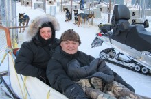 U.S. Consul General Peter Kujawinski, left, goes dog sledding with NWT Commissioner George Tuccaro while in Yellowknife last weekend.