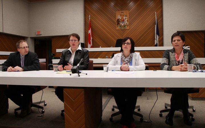 Criminal defence lawyer Michael Hansen, left, Chief Judge Christine Gagnon, Justice department director and PARTNER developer Dawn Anderson and regional manager of probation services in Hay River Cindy Caudron give a briefing on the new Domestic Violence Treatment Option (DVTO) Court, now operational in Hay River.