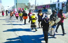 Yellowknifers march in protest of the acquittal of the man charged with murdering Cindy Gladue, an indigenous sex worker in Edmonton, earlier this month.