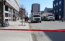 Emergency responders seize a suspicious package at Yellowknife's courthouse Thursday.