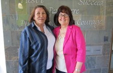 Keyano College instructor Maureen Clarke, right, with Terry Marten, one of her first students. The two reunited at Clarke's retirement party, held on June 16.