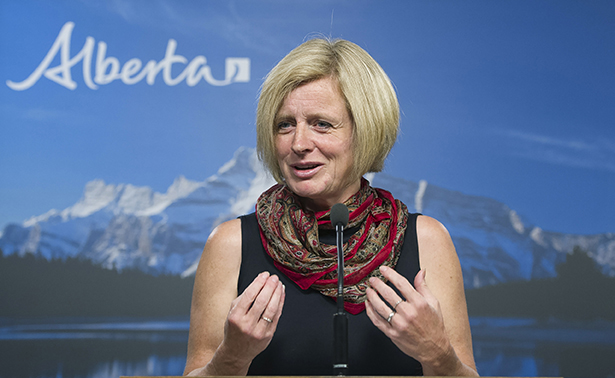 Premier Rachel Notley spoke to reporters in Edmonton Thursday, June 25, 2015 about the accomplishments of the new government during the spring sitting of the Legislature. (Chris Schwarz/Government of Alberta)