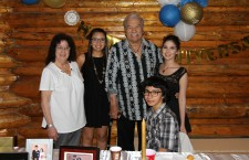 Sonny and Helen MacDonald celebrated their 50th wedding anniversary at the Roaring Rapids Hall in Fort Smith over the weekend, surrounded by their family and friends. Kayla, Bryce and Mykelty Catholique were some of the many guests who made the occasion so special for their grandparents.