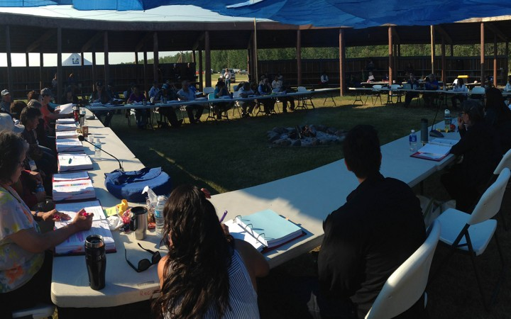 Delegates gather at the Dehcho Assembly in Liidlii Kue (Fort Simpson) last week.