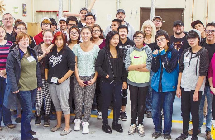 Dehcho students get the Trades Awareness  treatment at Aurora's Thebacha Campus