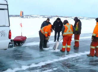Ice road builders use technology to make work safer